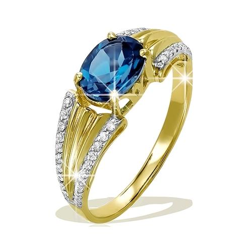 Золотое кольцо Сапфир и Фианит арт. 1-519 1-519
