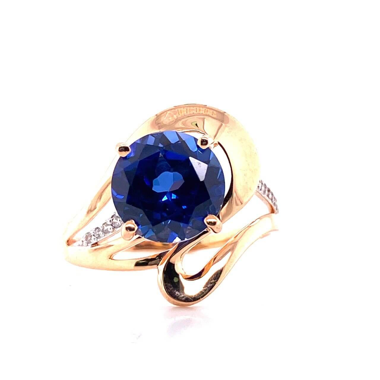 Золотое кольцо Сапфир и Фианит арт. 1-805 1-805