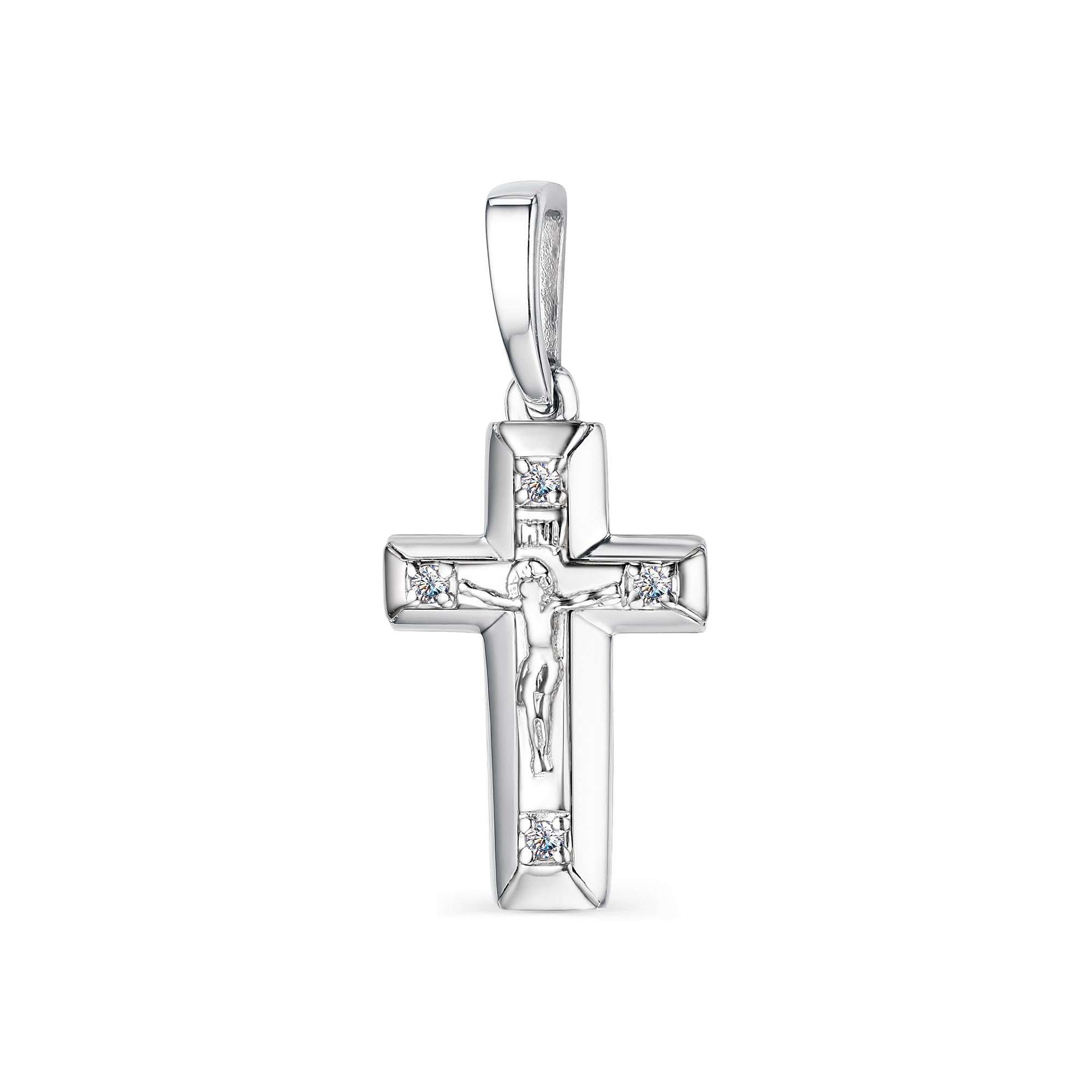 Крест из лимонного золота с бриллиантом арт. 33844-300 33844-300