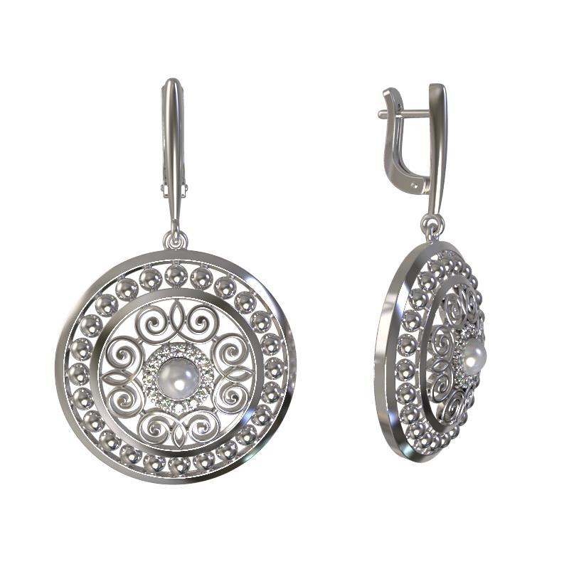 Серебряные серьги с жемчугом и фианитом 1030282-01150