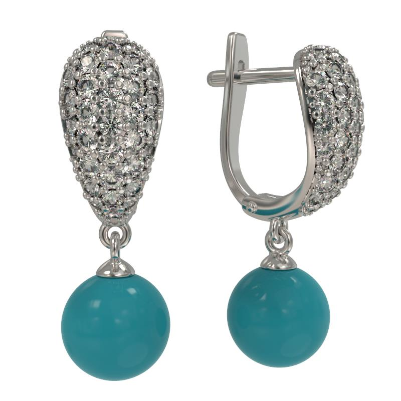 Серебряные серьги с бирюзой и фианитом 1024512-01110-б