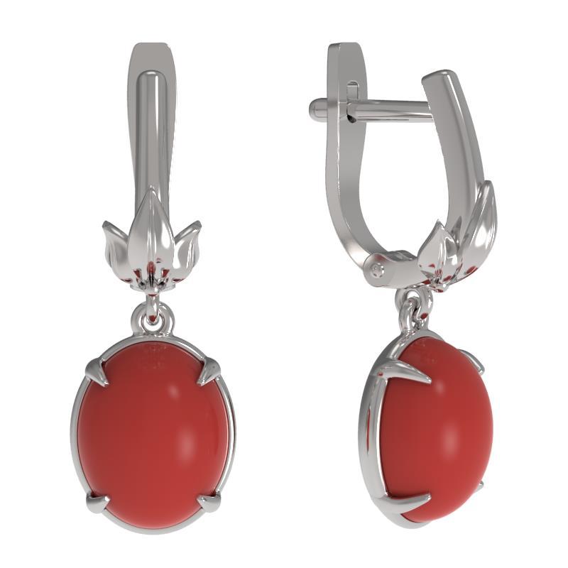 Серебряные серьги с кораллом 1035862-01210-к