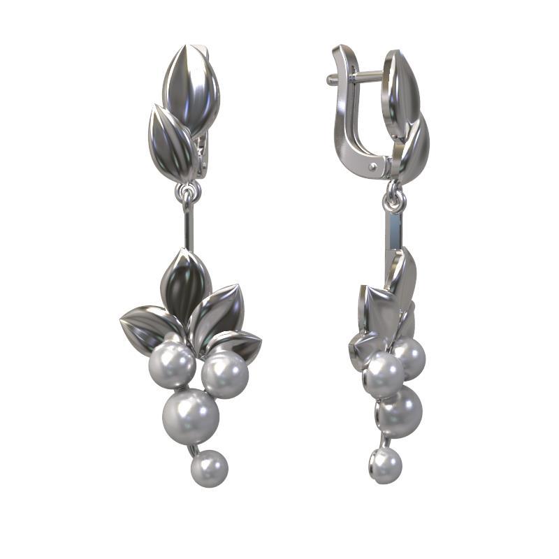 Серебряные серьги с жемчугом 1029232-01250