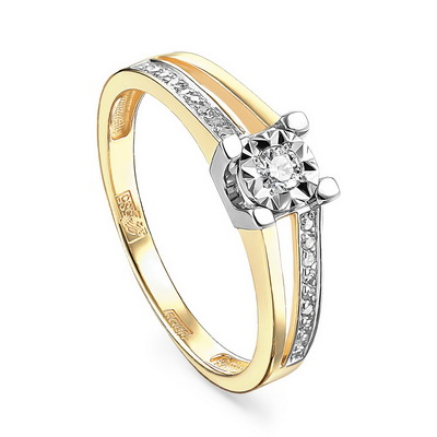 Кольцо из лимонного золота Бриллиант арт. 11-21104-1000 11-21104-1000