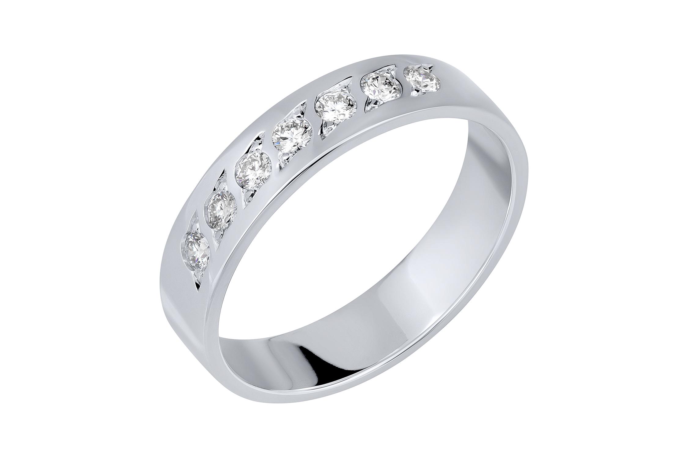 Обручальное кольцо из белого золота с бриллиантом арт. 91273-1 91273-1