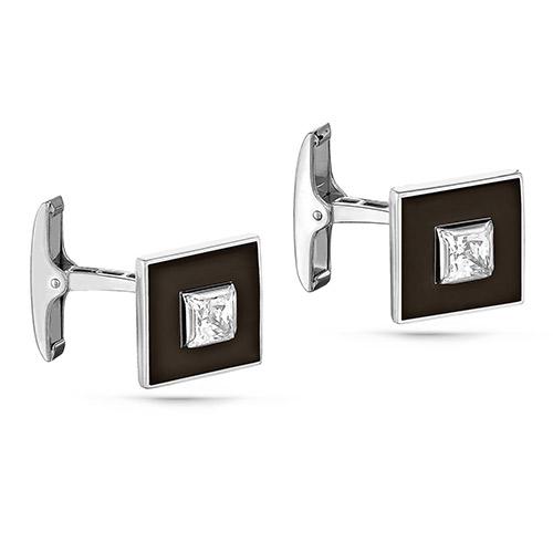 Серебряные запонки с кристаллом сваровски арт. 17-141-8102 17-141-8102