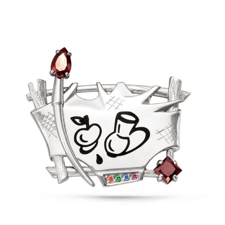 Серебряная брошь с кристаллом сваровски арт. 5-005-0902 5-005-0902