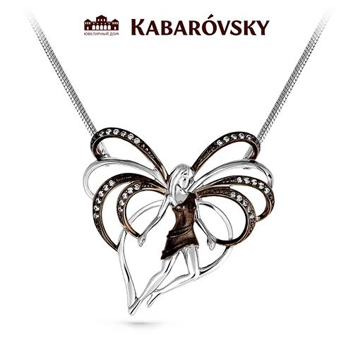 Серебряное колье с кристаллом сваровски арт. 6-001-8189 6-001-8189
