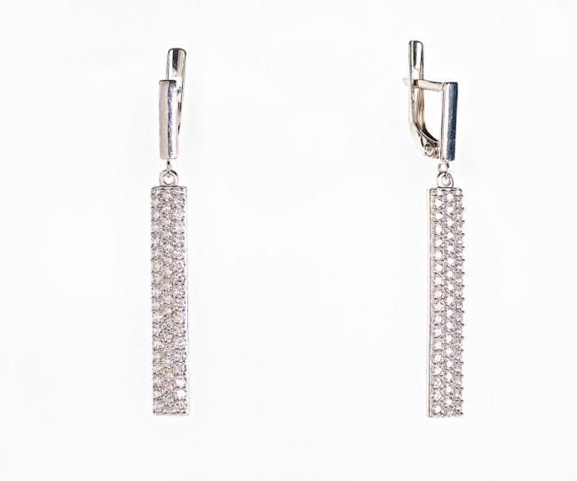 с32-942сф Серебряные серьги с фианитом