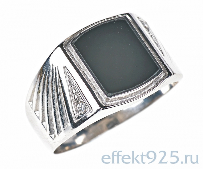 Серебряная печатка с обсидианом и фианитом Прочие и Фианит арт. ч3-904коб-21.5 ч3-904коб-21.5