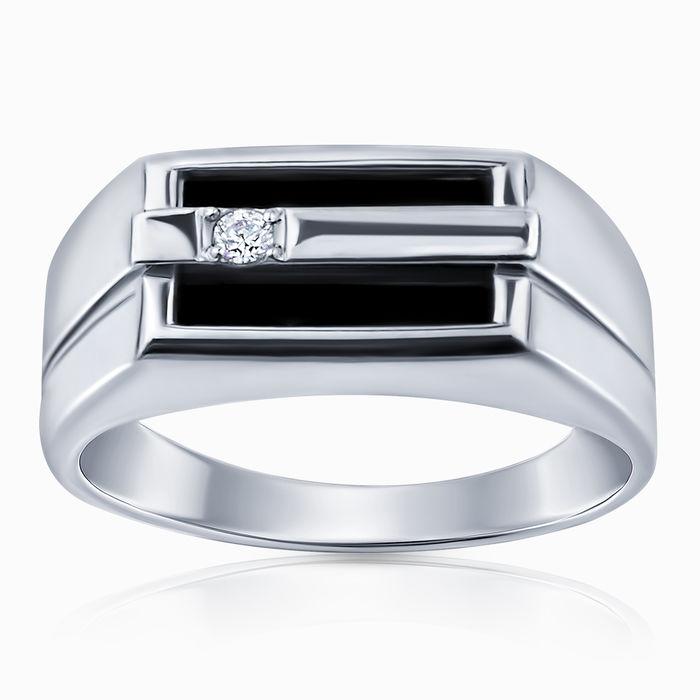 Серебряное кольцо Оникс и Фианит арт. 47244 47244