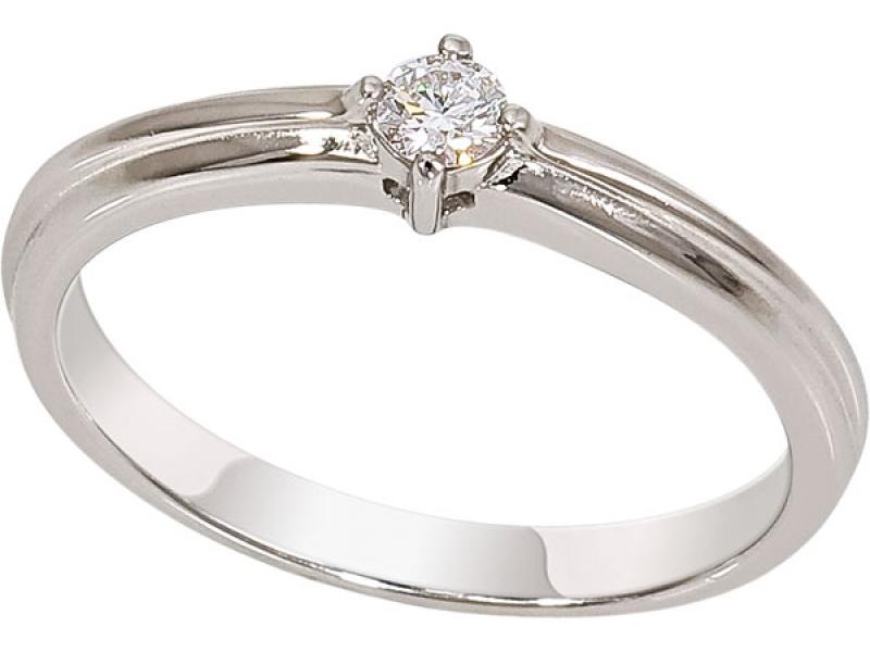 Помолвочное кольцо из белого золота с бриллиантом 1016681-21240