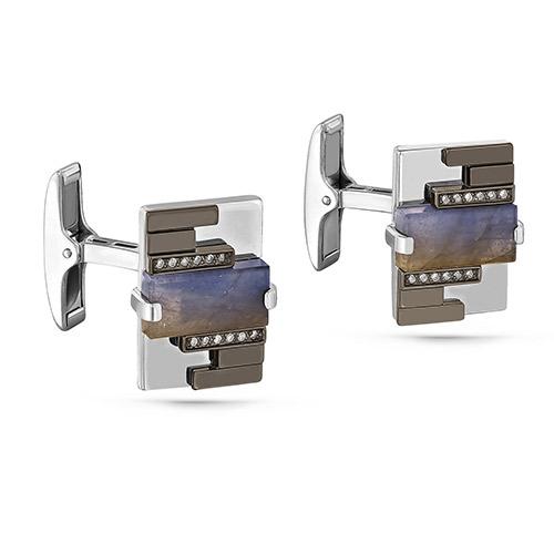 Серебряные запонки с бриллиантом и лабрадоритом арт. 17-151-6589 17-151-6589
