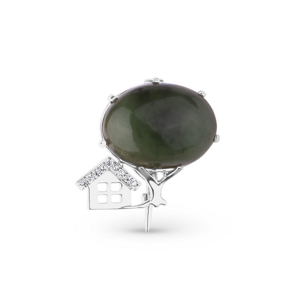 Серебряная брошь с нефритом и фианитом арт. 42120053 42120053