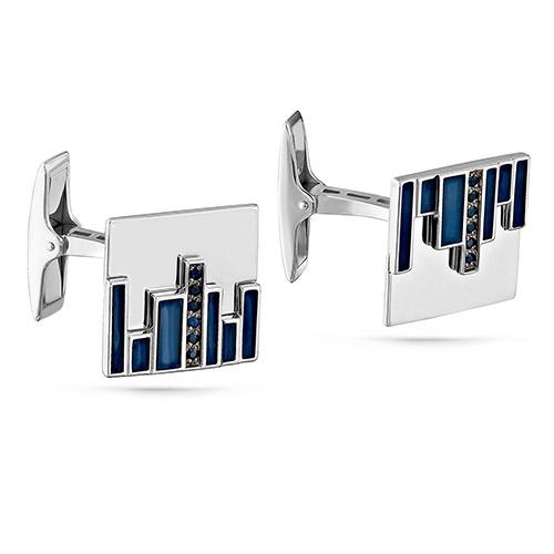 Серебряные запонки с фианитом арт. 17-157-7907 17-157-7907
