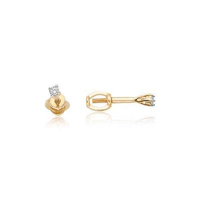Серьги пусеты из золота с фианитом 12-02-0001-21919