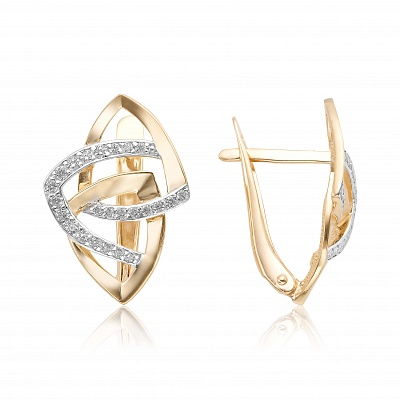 Золотые серьги с фианитом 10-02-0001-24113
