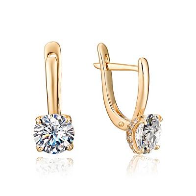 Золотые серьги с кристаллом сваровски 10-00-000s-25989