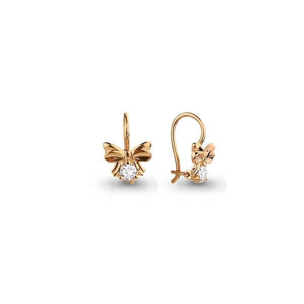 Золотые серьги с кристаллом сваровски 43892