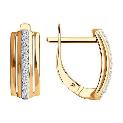 Золотые серьги с фианитом 028938