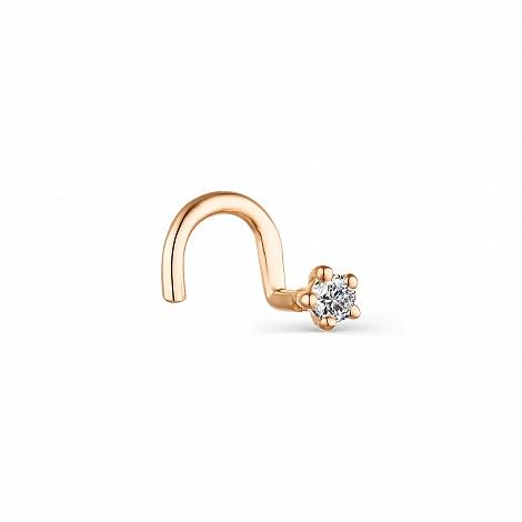 Пирсинг в нос из золота с бриллиантом арт. 73754-100 73754-100