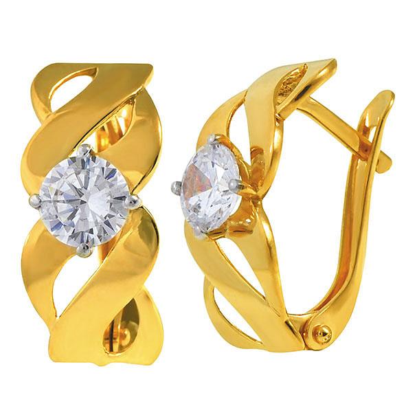 Золотые серьги с фианитом 831882