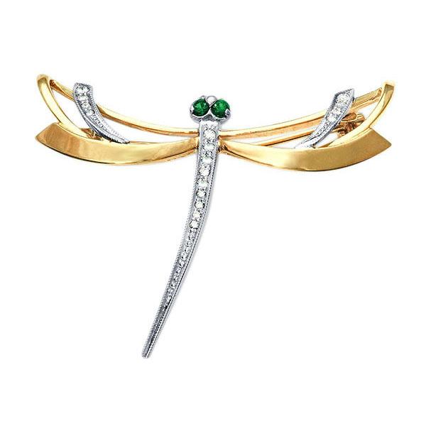 Золотая брошь с корундом и фианитом арт. 22020046/кор 22020046/кор