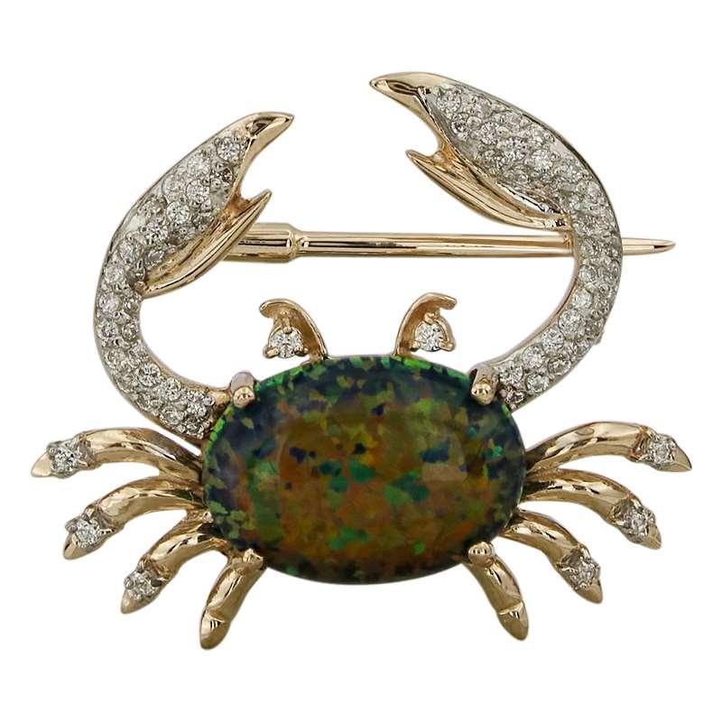 Золотая брошь с опалом и цирконием арт. 041624откц 041624откц