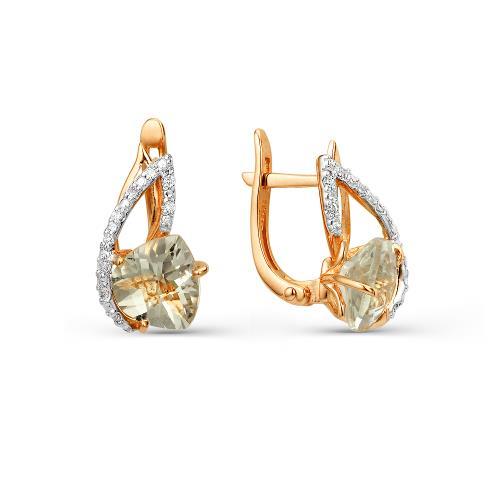 Золотые серьги с султанит(ситал) и фианитом 2180329