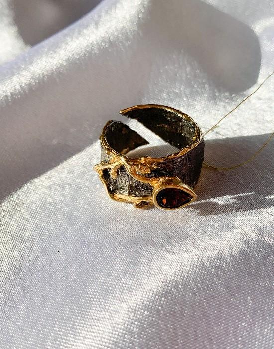 Кольцо серебряное с позолотой 00147