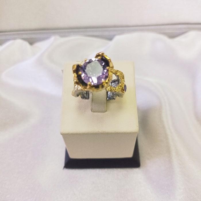 Кольцо серебряное с позолотой 00160