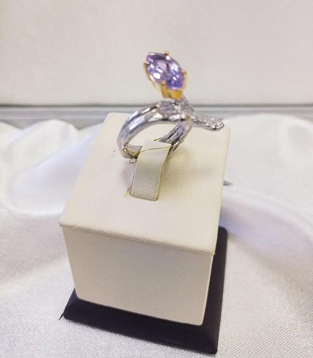 Кольцо серебряное с позолотой 00188