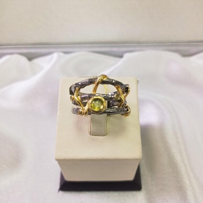 Кольцо серебряное с позолотой 00193