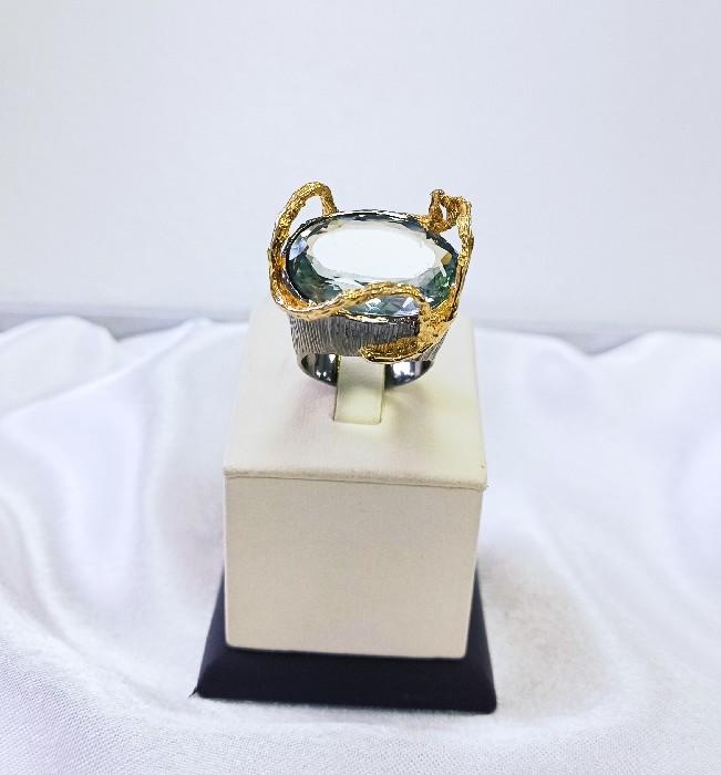Кольцо серебряное с позолотой 00216