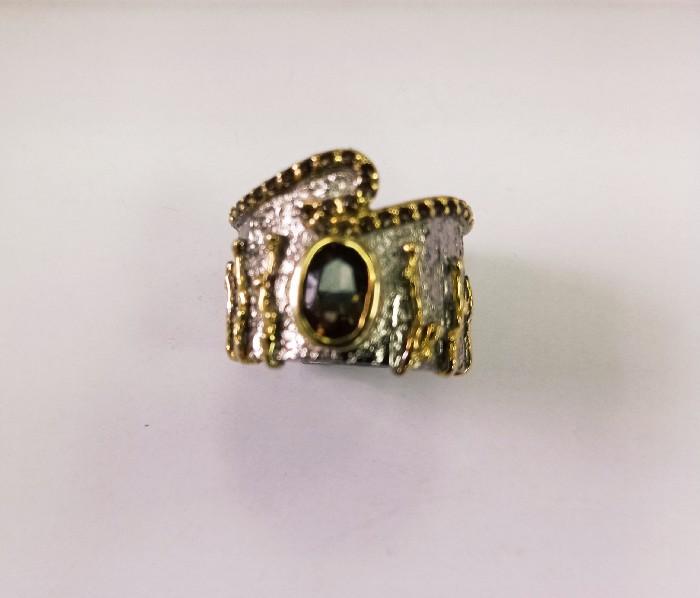Кольцо серебряное с позолотой 00247