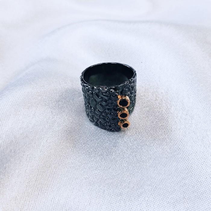 Кольцо серебряное с позолотой 00381