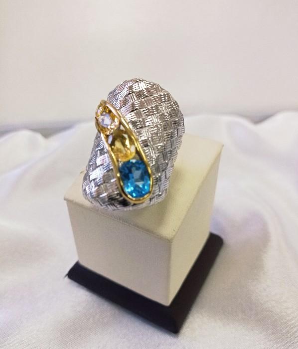 Кольцо серебряное с позолотой 00391