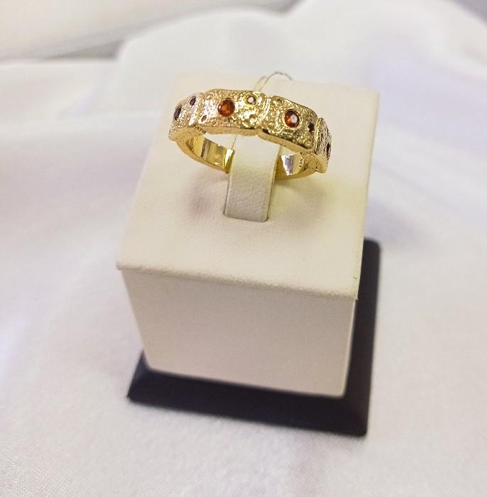 Кольцо серебряное с позолотой 00607
