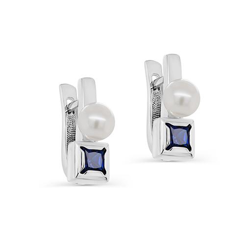 Серебряные серьги с жемчугом искусственным и фианитом 12-344-40800