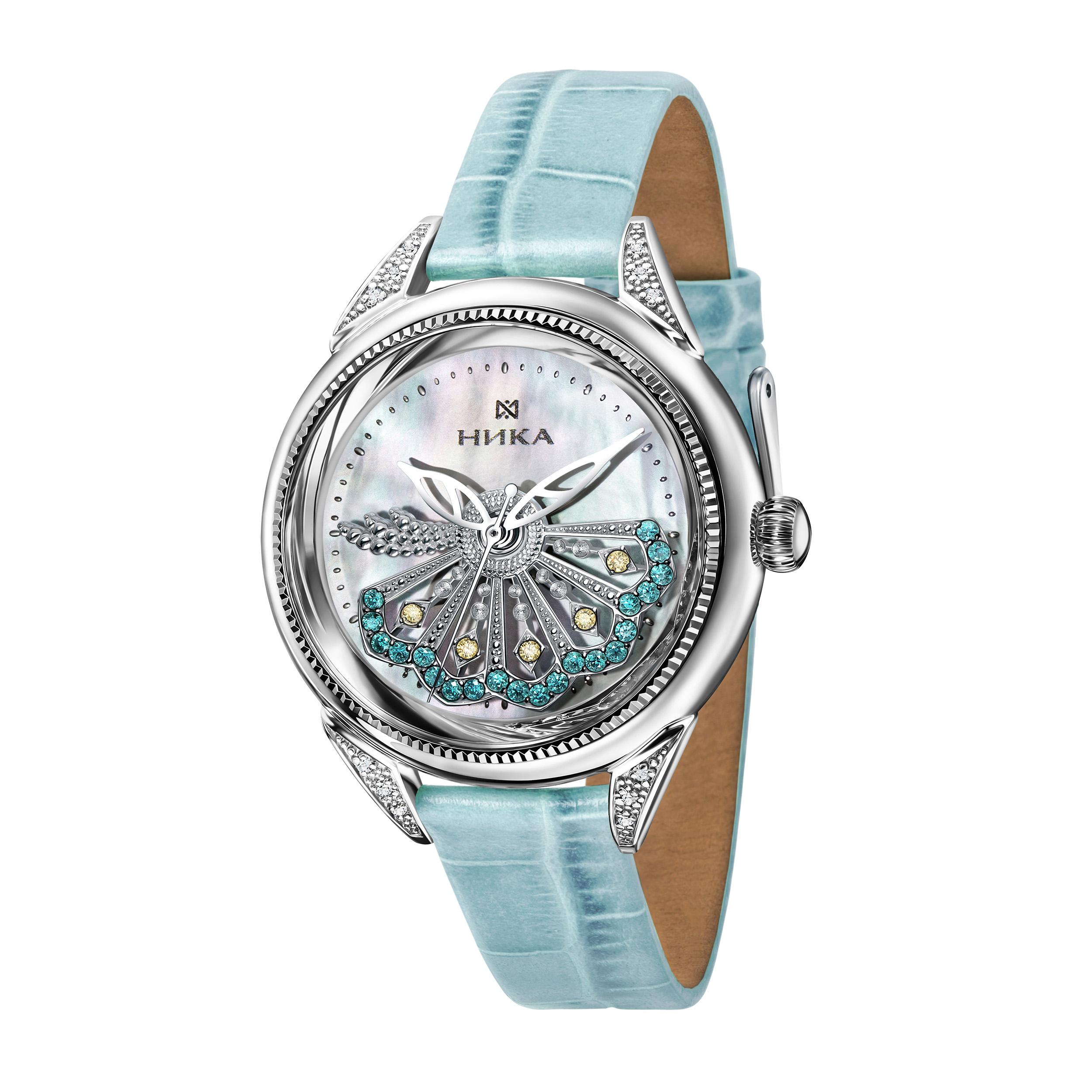 Женские часы из серебра с бриллиантом, кристаллом сваровски и фианитом арт. 1282.12.9.37в01 1282.12.9.37в01
