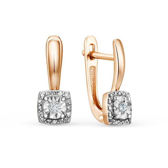 Золотые серьги с бриллиантом с1236-120