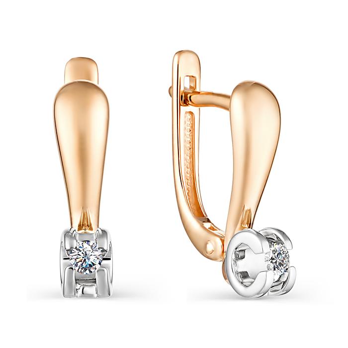 Золотые серьги с бриллиантом с0239-120