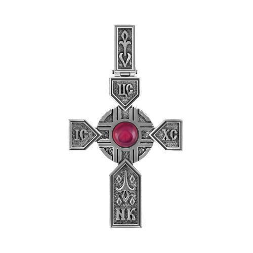 Серебряный крест с ониксом арт. 3-185-6683 3-185-6683