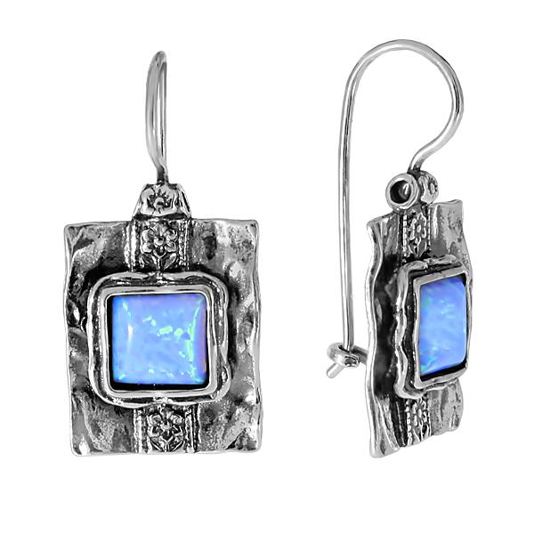 Серебряные серьги с искуственным опалом 01e447op