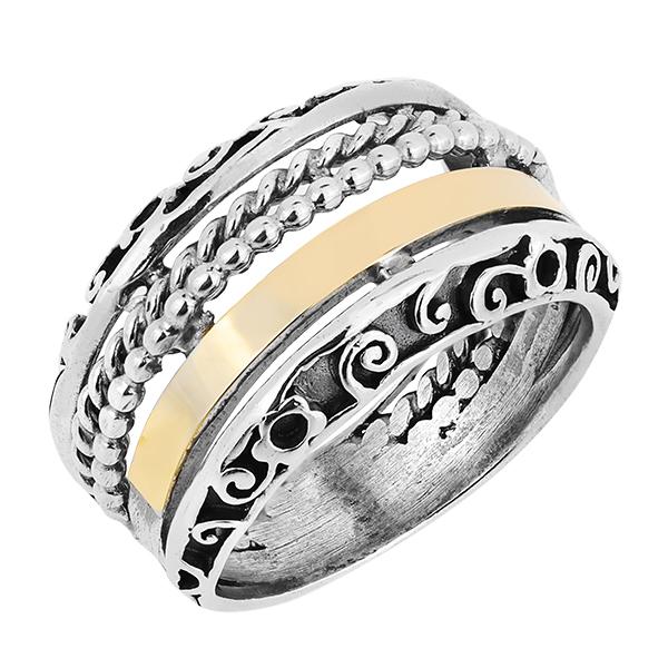 Кольцо серебряное с позолотой mvr1118g