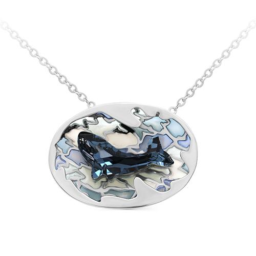 Серебряное колье с кристаллом сваровски арт. 6-042-8101 6-042-8101