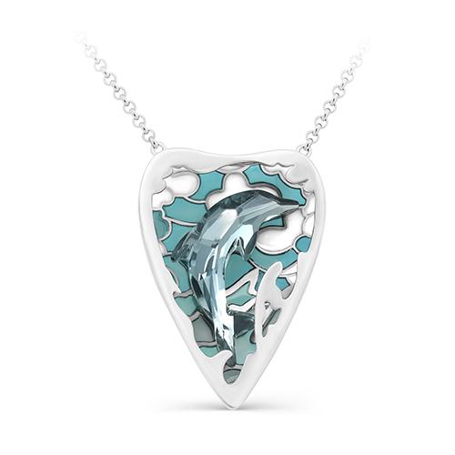 Серебряное колье с кристаллом сваровски арт. 6-041-8101 6-041-8101