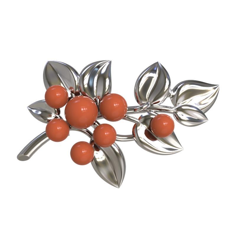 Серебряная брошь с синтетическим кораллом арт. 1029234-01220-к 1029234-01220-к