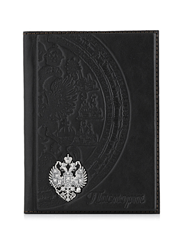 Обложка для паспорта с серебром 925 пробы арт. Орёл Орёл
