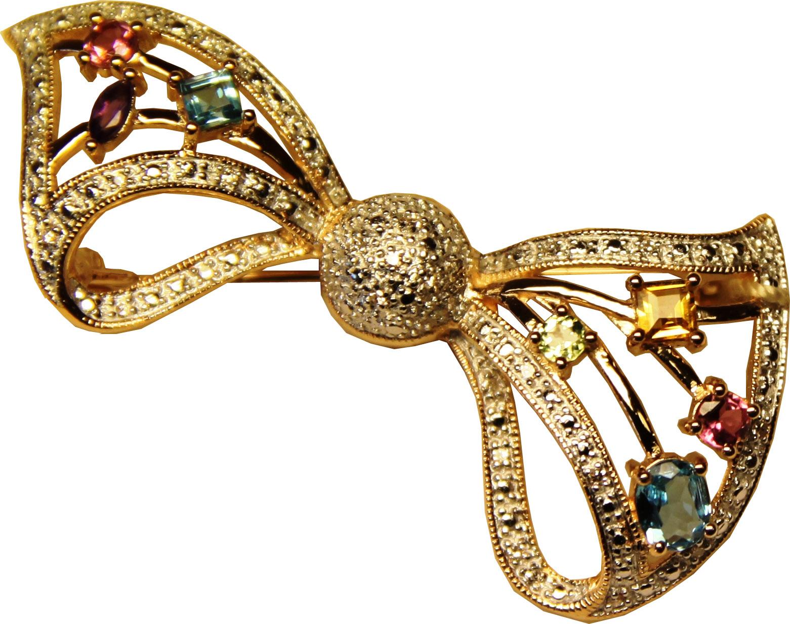 Золотая брошь с аметистом, бриллиантом, перидотом, топазом, турмалином и цитрином арт. 330060км 330060км